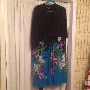 Knee length, faux wrap dress